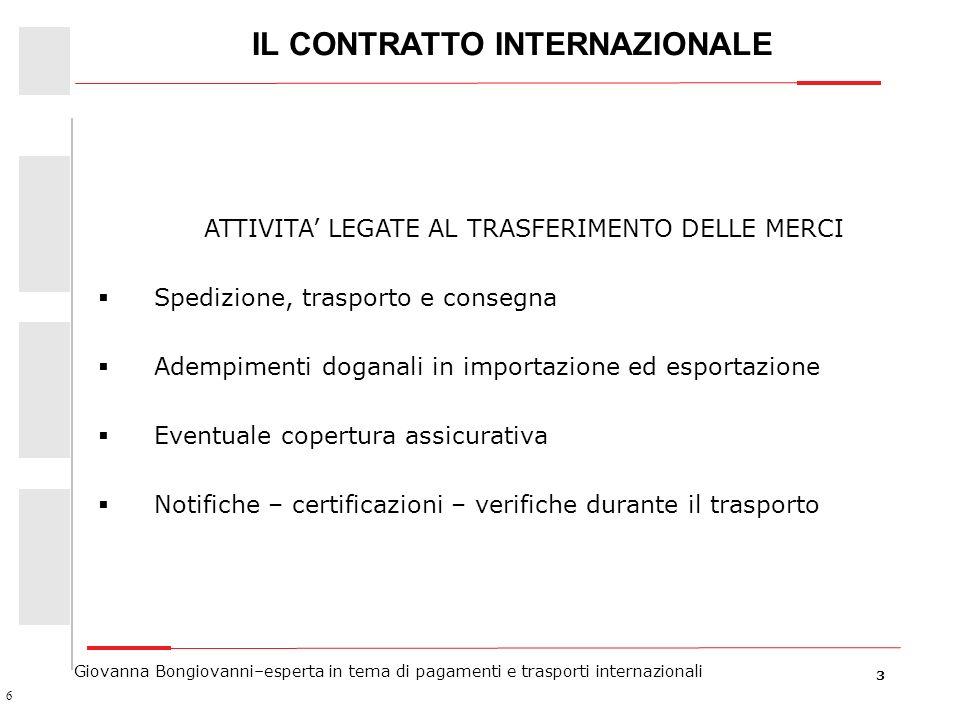 3 Giovanna Bongiovanni–esperta in tema di pagamenti e trasporti internazionali IL CONTRATTO INTERNAZIONALE ATTIVITA LEGATE AL TRASFERIMENTO DELLE MERC