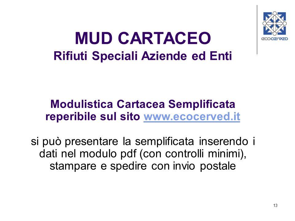13 MUD CARTACEO Rifiuti Speciali Aziende ed Enti Modulistica Cartacea Semplificata reperibile sul sito www.ecocerved.itwww.ecocerved.it si può present
