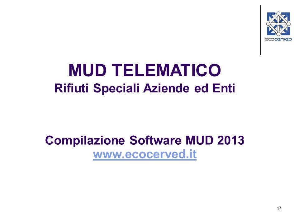 17 Compilazione Software MUD 2013 www.ecocerved.it MUD TELEMATICO Rifiuti Speciali Aziende ed Enti