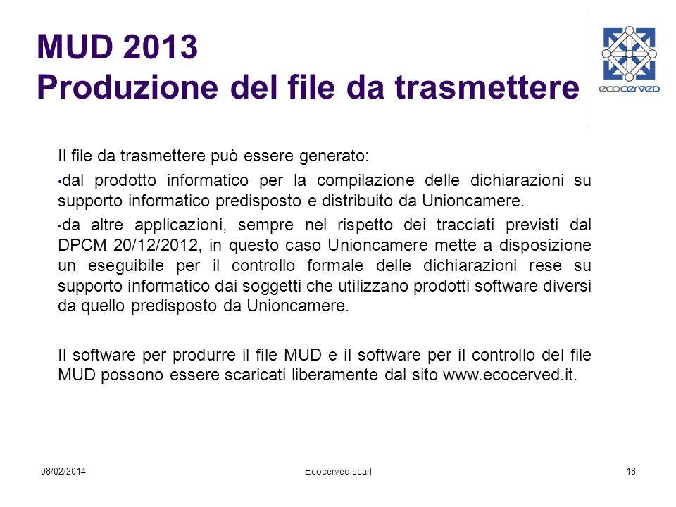 18 Il file da trasmettere può essere generato: dal prodotto informatico per la compilazione delle dichiarazioni su supporto informatico predisposto e
