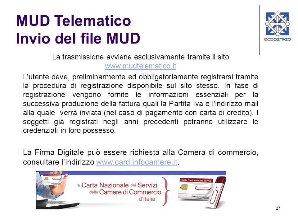 27 La trasmissione avviene esclusivamente tramite il sito www.mudtelematico.it www.mudtelematico.it L'utente deve, preliminarmente ed obbligatoriament