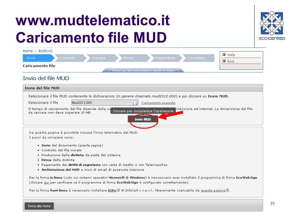31 www.mudtelematico.it Caricamento file MUD