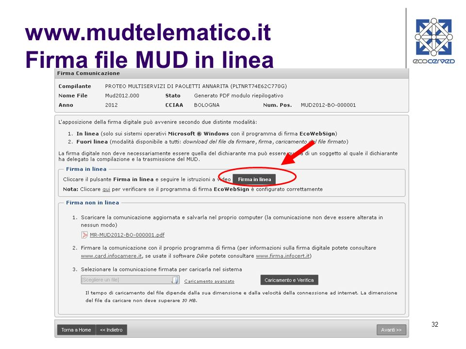 32 www.mudtelematico.it Firma file MUD in linea