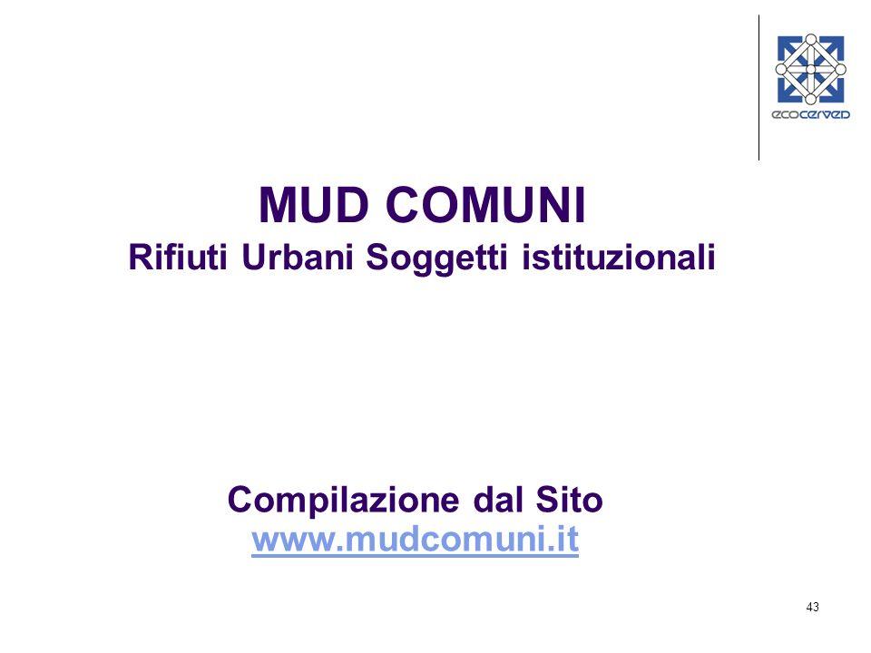 43 MUD COMUNI Rifiuti Urbani Soggetti istituzionali Compilazione dal Sito www.mudcomuni.it