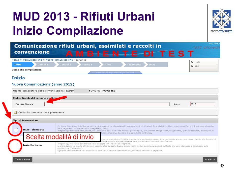 45 Scelta modalità di invio MUD 2013 - Rifiuti Urbani Inizio Compilazione