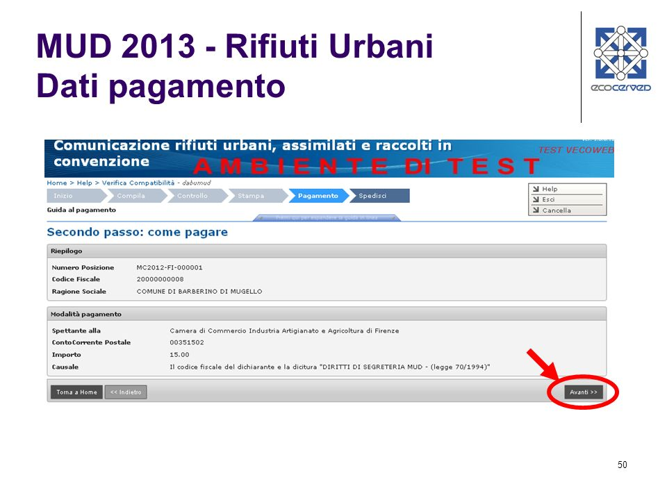 50 MUD 2013 - Rifiuti Urbani Dati pagamento
