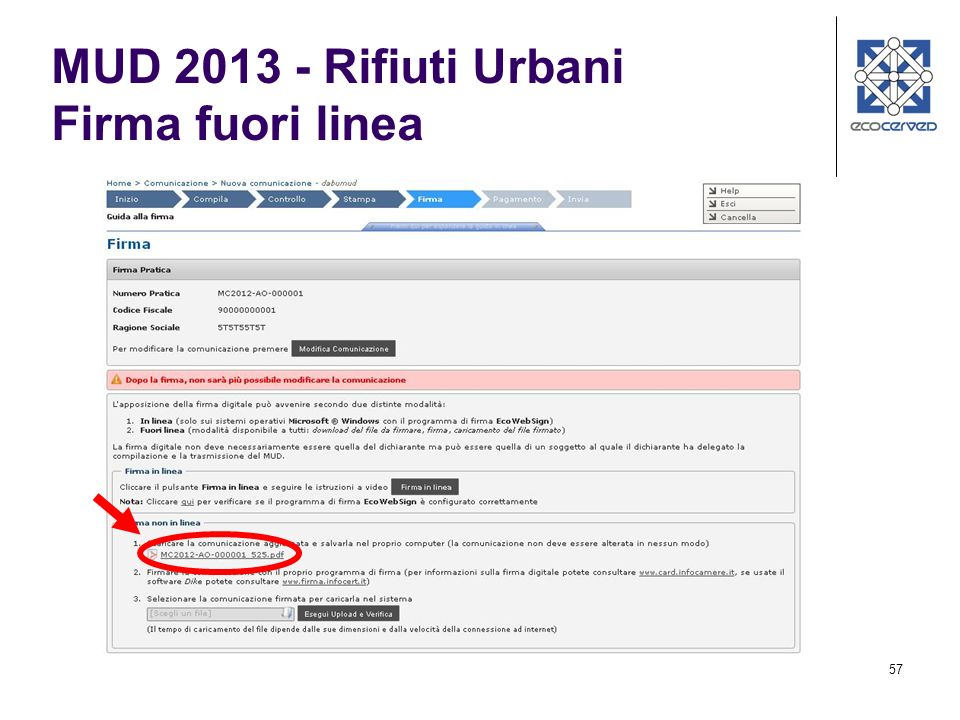 57 MUD 2013 - Rifiuti Urbani Firma fuori linea