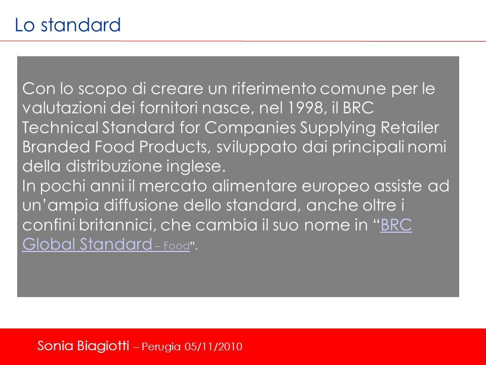 Lo standard Con lo scopo di creare un riferimento comune per le valutazioni dei fornitori nasce, nel 1998, il BRC Technical Standard for Companies Sup