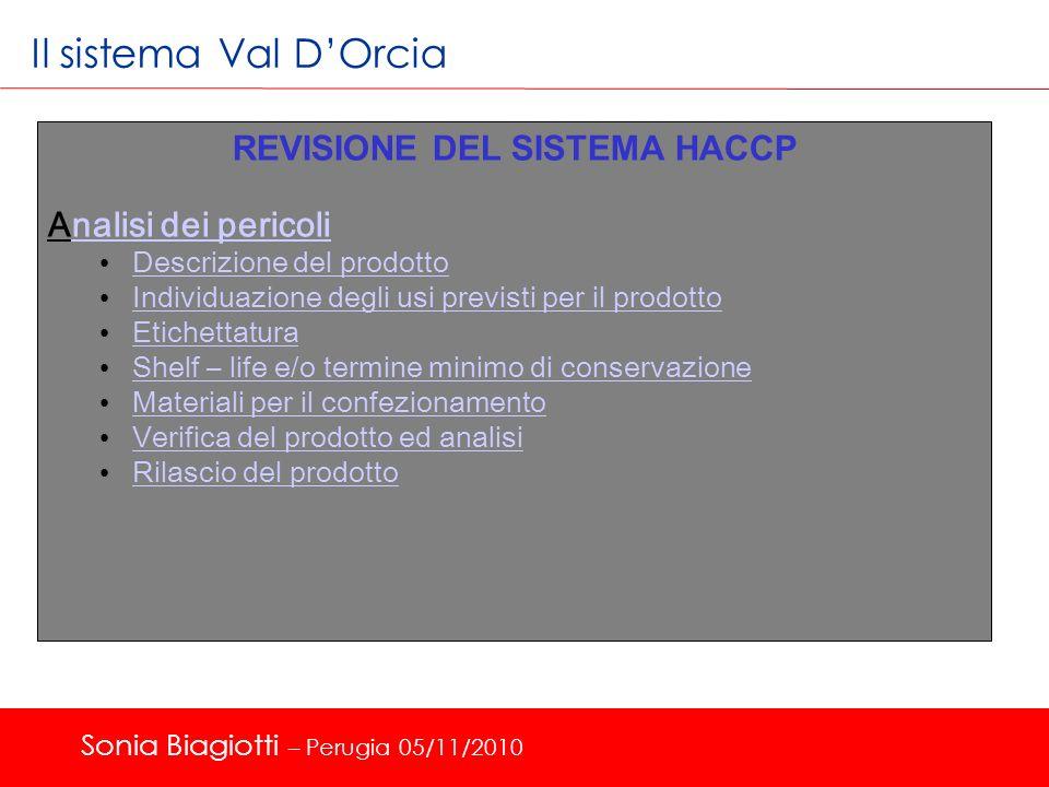 Il sistema Val DOrcia REVISIONE DEL SISTEMA HACCP Analisi dei pericolinalisi dei pericoli Descrizione del prodotto Descrizione del prodotto Individuaz
