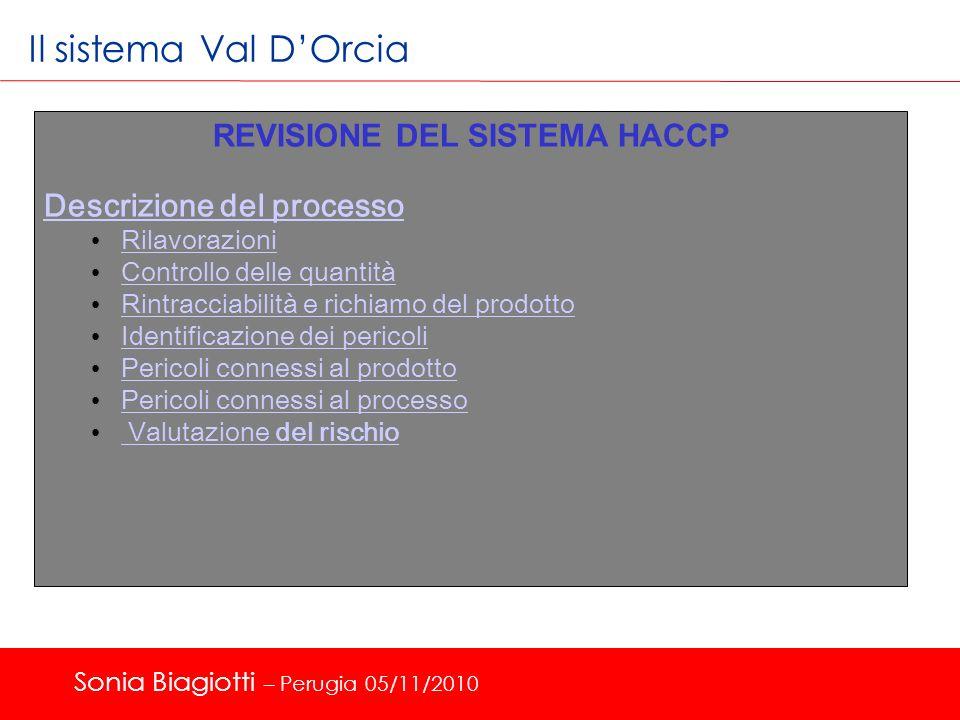 Il sistema Val DOrcia REVISIONE DEL SISTEMA HACCP Descrizione del processo Rilavorazioni Controllo delle quantità Controllo delle quantità Rintracciab