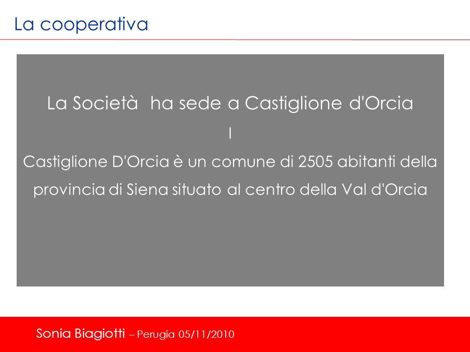 La cooperativa La Società ha sede a Castiglione d'Orcia I Castiglione D'Orcia è un comune di 2505 abitanti della provincia di Siena situato al centro