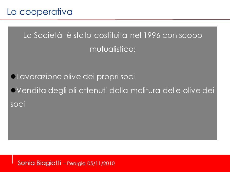 La cooperativa La Società è stato costituita nel 1996 con scopo mutualistico: Lavorazione olive dei propri soci Vendita degli oli ottenuti dalla molit