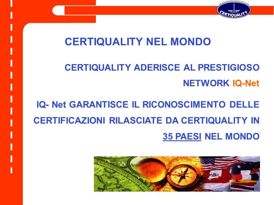 CERTIQUALITY NEL MONDO CERTIQUALITY ADERISCE AL PRESTIGIOSO NETWORK IQ-Net IQ- Net GARANTISCE IL RICONOSCIMENTO DELLE CERTIFICAZIONI RILASCIATE DA CERTIQUALITY IN 35 PAESI NEL MONDO