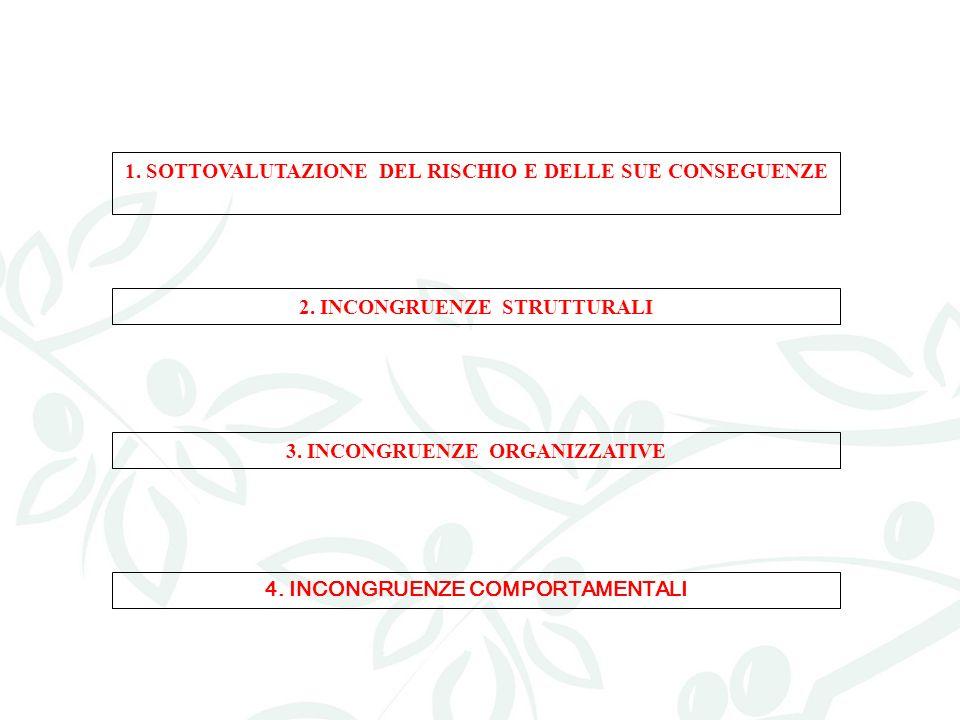 1. SOTTOVALUTAZIONE DEL RISCHIO E DELLE SUE CONSEGUENZE 2. INCONGRUENZE STRUTTURALI 3. INCONGRUENZE ORGANIZZATIVE 4. INCONGRUENZE COMPORTAMENTALI