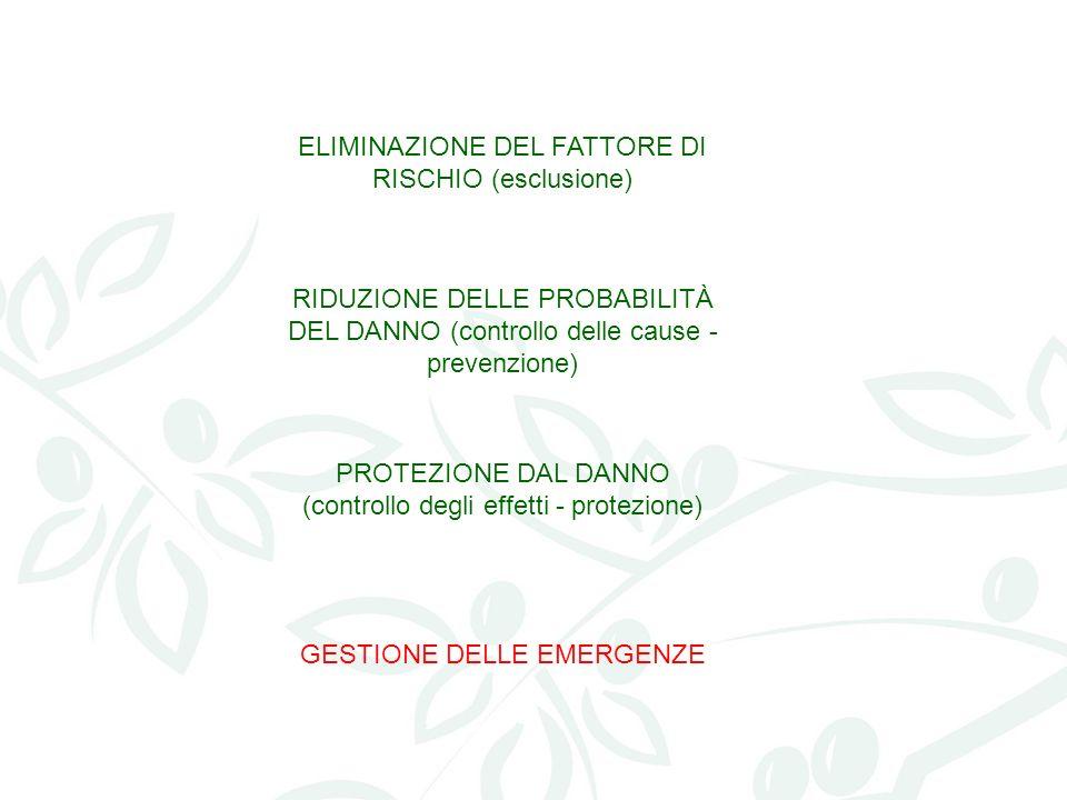 ELIMINAZIONE DEL FATTORE DI RISCHIO (esclusione) RIDUZIONE DELLE PROBABILITÀ DEL DANNO (controllo delle cause - prevenzione) PROTEZIONE DAL DANNO (con
