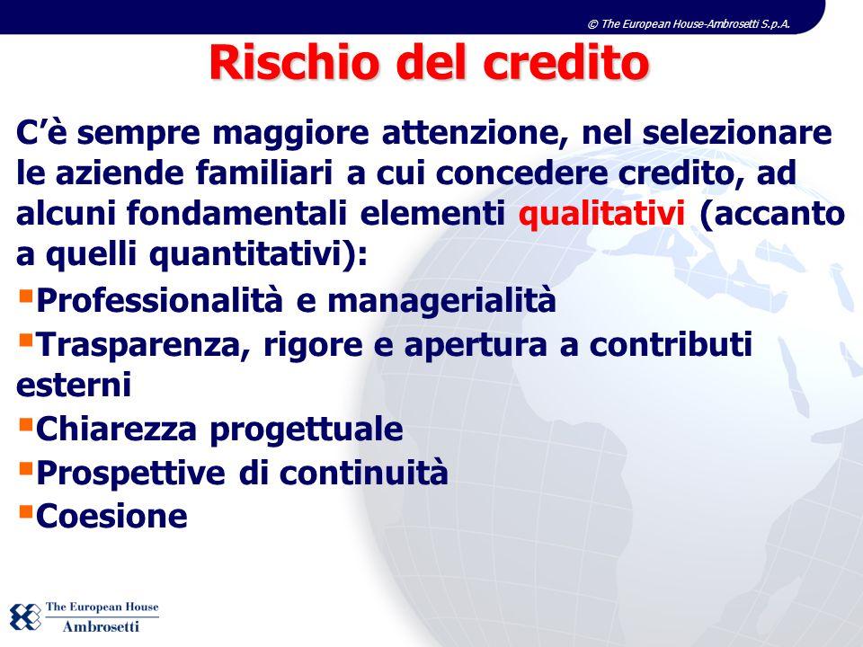 © The European House-Ambrosetti S.p.A. Cè sempre maggiore attenzione, nel selezionare le aziende familiari a cui concedere credito, ad alcuni fondamen
