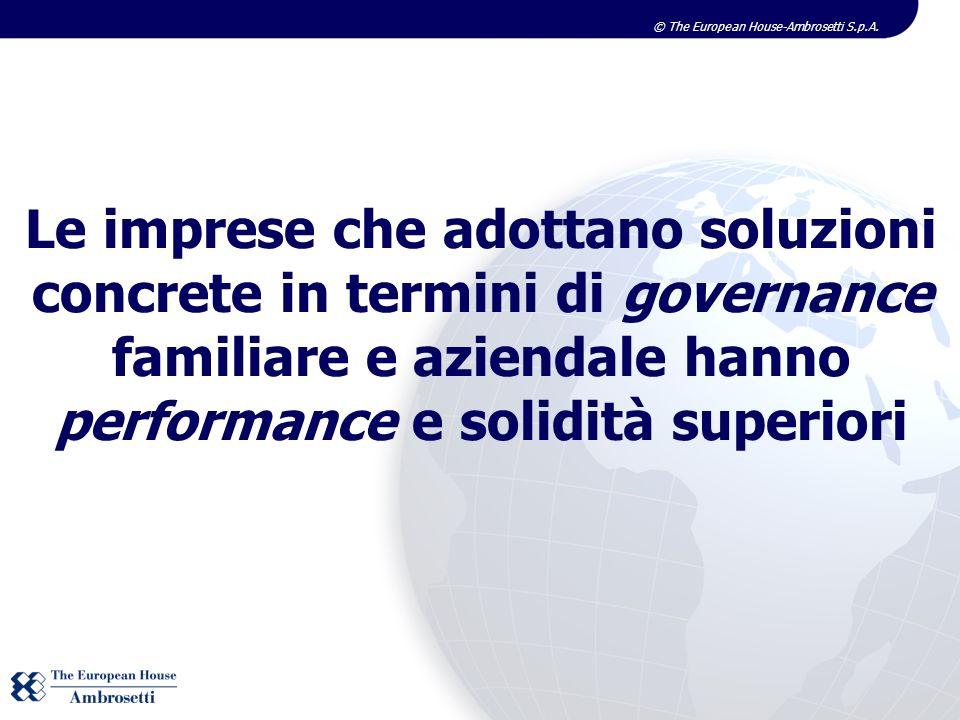 © The European House-Ambrosetti S.p.A. Le imprese che adottano soluzioni concrete in termini di governance familiare e aziendale hanno performance e s