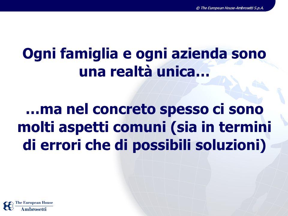 © The European House-Ambrosetti S.p.A. Ogni famiglia e ogni azienda sono una realtà unica… …ma nel concreto spesso ci sono molti aspetti comuni (sia i