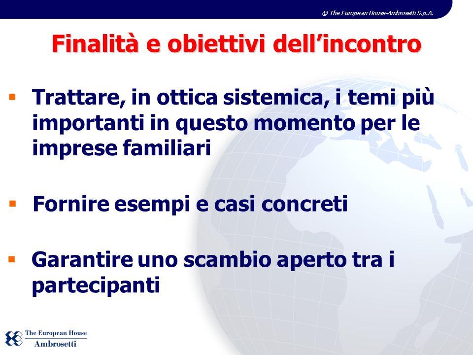 © The European House-Ambrosetti S.p.A. Fornire esempi e casi concreti Trattare, in ottica sistemica, i temi più importanti in questo momento per le im