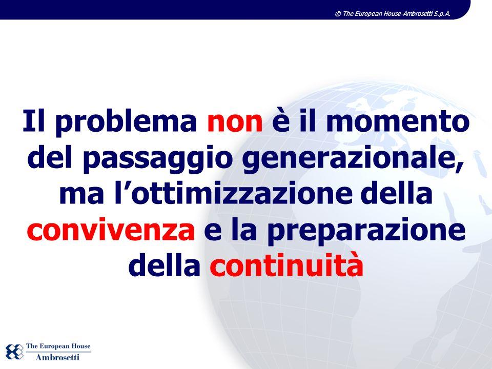Il problema non è il momento del passaggio generazionale, ma lottimizzazione della convivenza e la preparazione della continuità