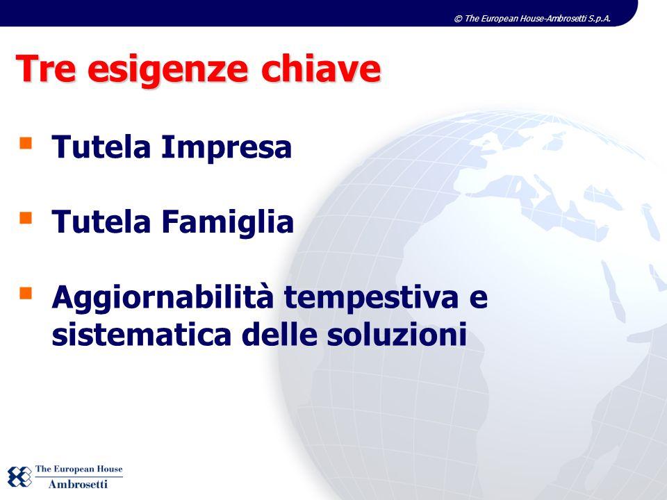 © The European House-Ambrosetti S.p.A. Tre esigenze chiave Tutela Impresa Tutela Famiglia Aggiornabilità tempestiva e sistematica delle soluzioni