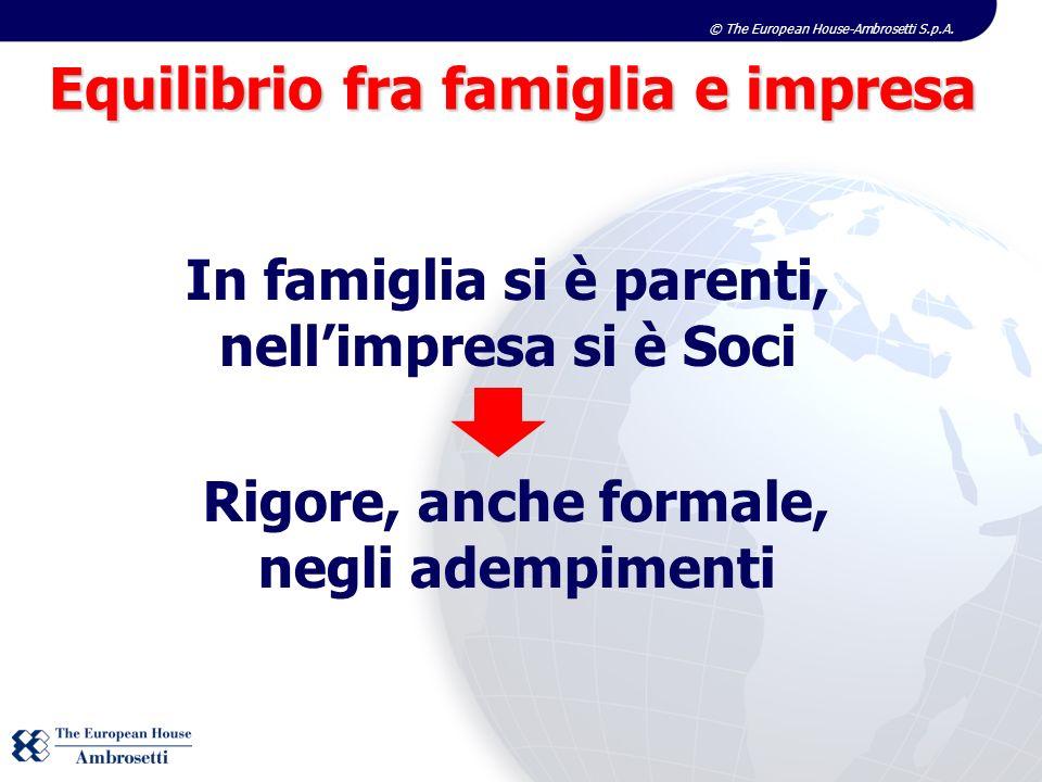 © The European House-Ambrosetti S.p.A. Equilibrio fra famiglia e impresa In famiglia si è parenti, nellimpresa si è Soci Rigore, anche formale, negli