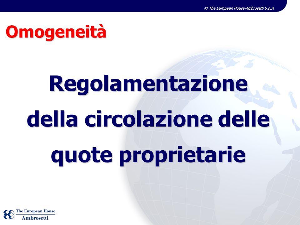 © The European House-Ambrosetti S.p.A. Omogeneità Regolamentazione della circolazione delle quote proprietarie