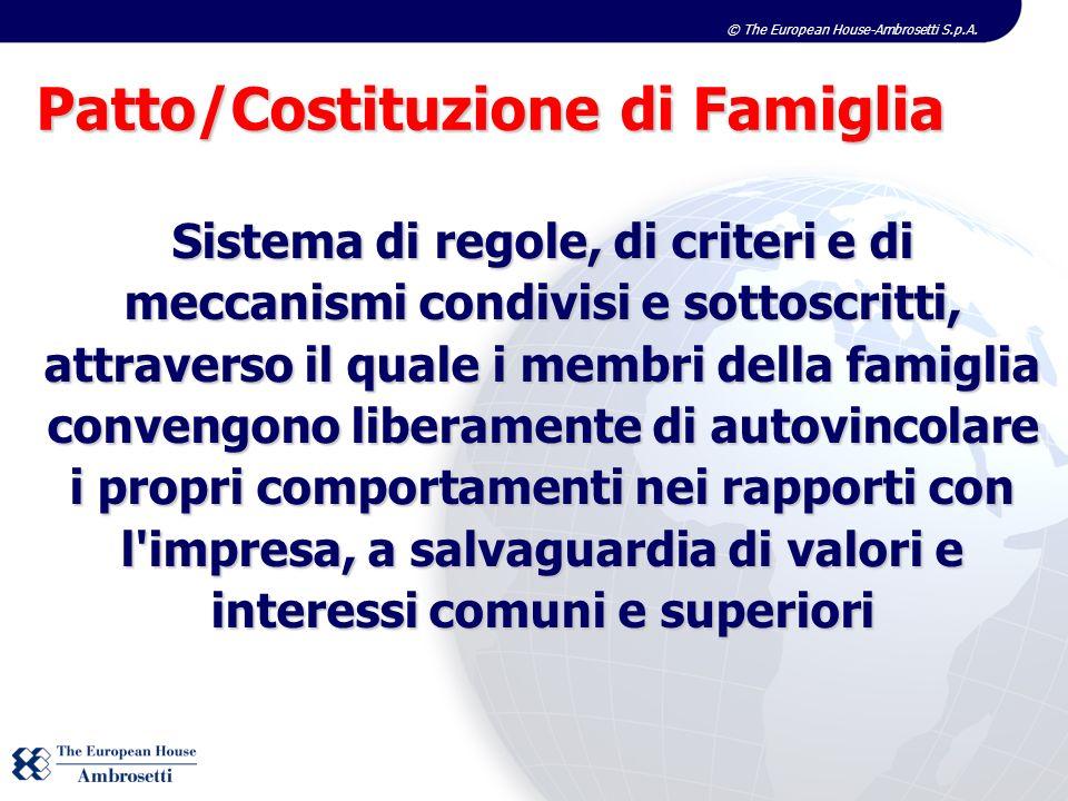© The European House-Ambrosetti S.p.A. Sistema di regole, di criteri e di meccanismi condivisi e sottoscritti, attraverso il quale i membri della fami