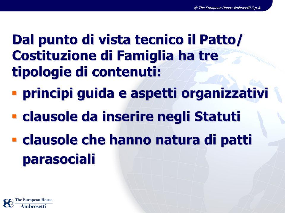 © The European House-Ambrosetti S.p.A. Dal punto di vista tecnico il Patto/ Costituzione di Famiglia ha tre tipologie di contenuti: principi guida e a