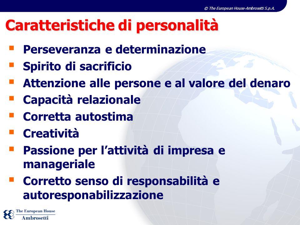 © The European House-Ambrosetti S.p.A. Perseveranza e determinazione Spirito di sacrificio Attenzione alle persone e al valore del denaro Capacità rel