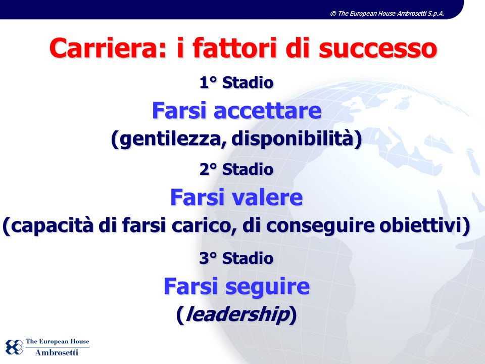 © The European House-Ambrosetti S.p.A. Carriera: i fattori di successo 1° Stadio Farsi accettare (gentilezza, disponibilità) 2° Stadio Farsi valere (c