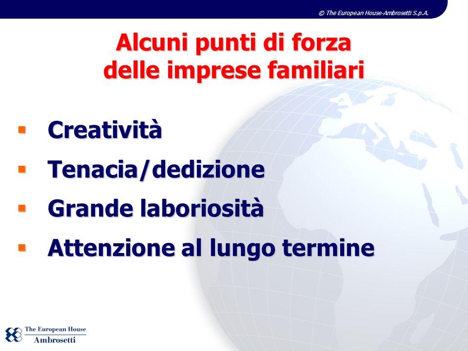 © The European House-Ambrosetti S.p.A. Creatività Creatività Tenacia/dedizione Tenacia/dedizione Grande laboriosità Grande laboriosità Attenzione al l