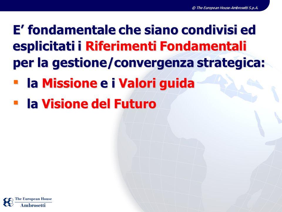 © The European House-Ambrosetti S.p.A. E fondamentale che siano condivisi ed esplicitati i Riferimenti Fondamentali per la gestione/convergenza strate