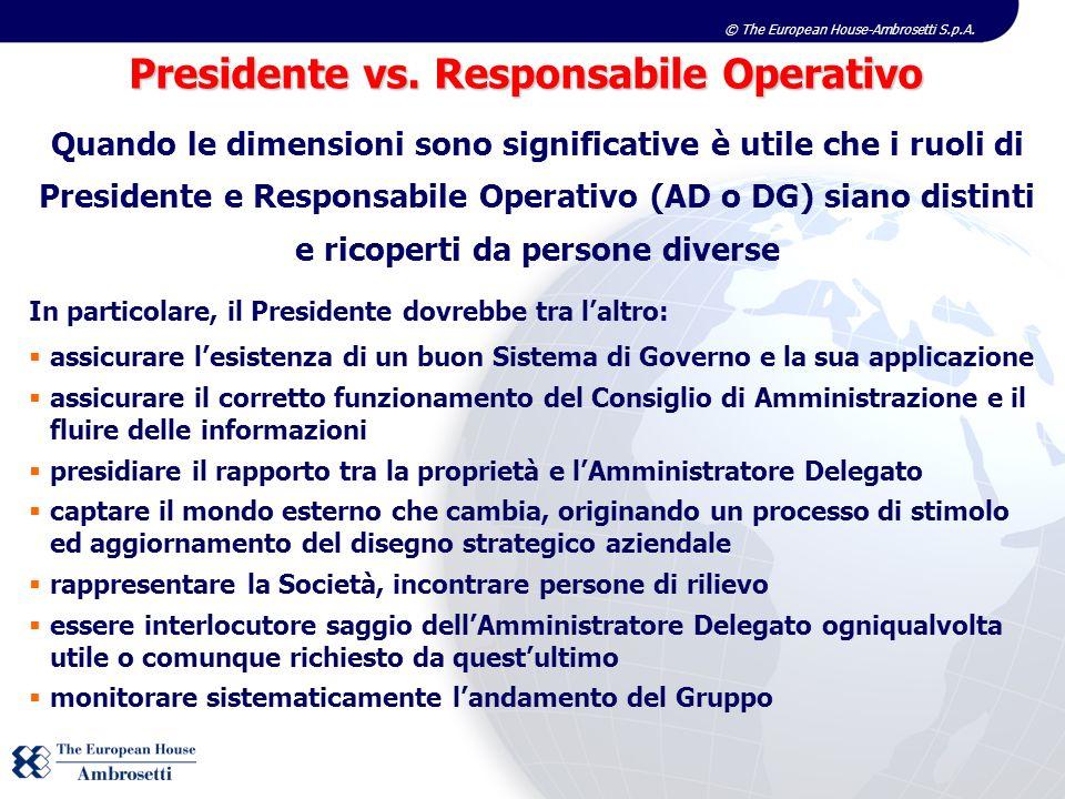 © The European House-Ambrosetti S.p.A. Quando le dimensioni sono significative è utile che i ruoli di Presidente e Responsabile Operativo (AD o DG) si