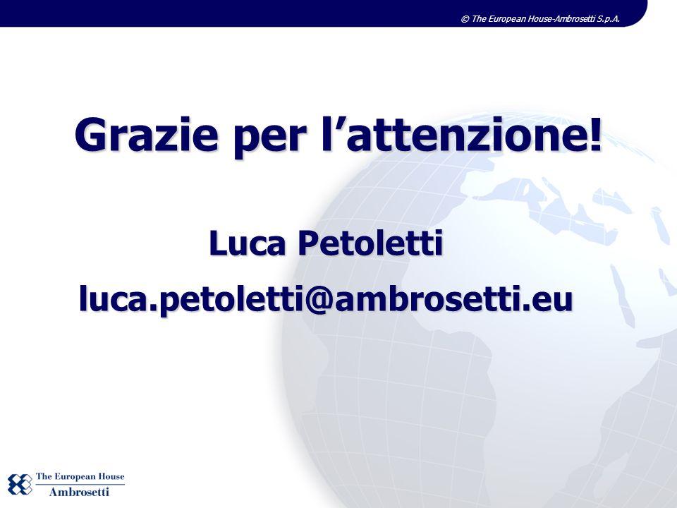 © The European House-Ambrosetti S.p.A. Grazie per lattenzione! Luca Petoletti luca.petoletti@ambrosetti.eu