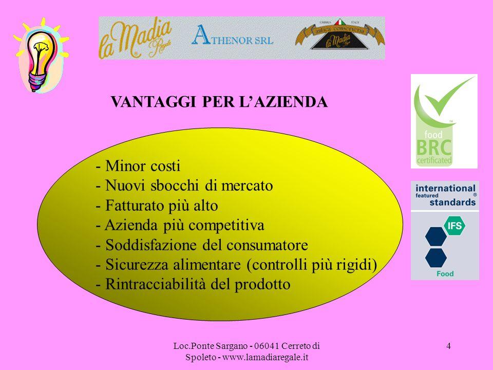 Loc.Ponte Sargano - 06041 Cerreto di Spoleto - www.lamadiaregale.it 4 VANTAGGI PER LAZIENDA - Minor costi - Nuovi sbocchi di mercato - Fatturato più a