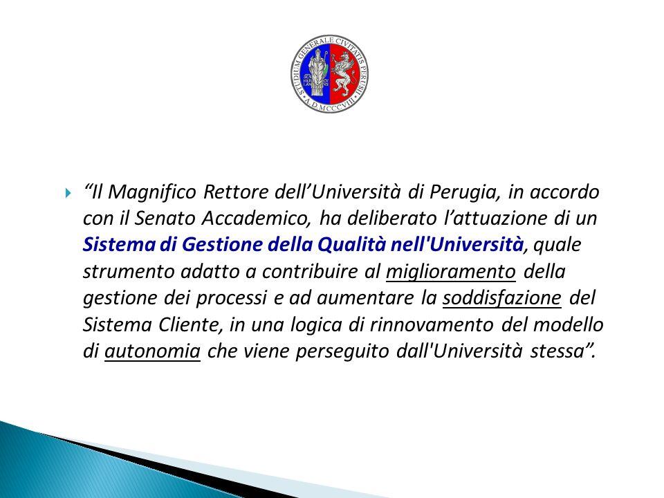 Il Magnifico Rettore dellUniversità di Perugia, in accordo con il Senato Accademico, ha deliberato lattuazione di un Sistema di Gestione della Qualità