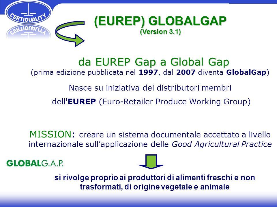 da EUREP Gap a Global Gap da EUREP Gap a Global Gap (prima edizione pubblicata nel 1997, dal 2007 diventa GlobalGap) Nasce su iniziativa dei distribut