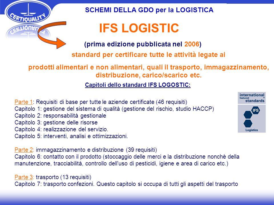 SCHEMI DELLA GDO per la LOGISTICA standard per certificare tutte le attività legate ai prodotti alimentari e non alimentari, quali il trasporto, immagazzinamento, distribuzione, carico/scarico etc.