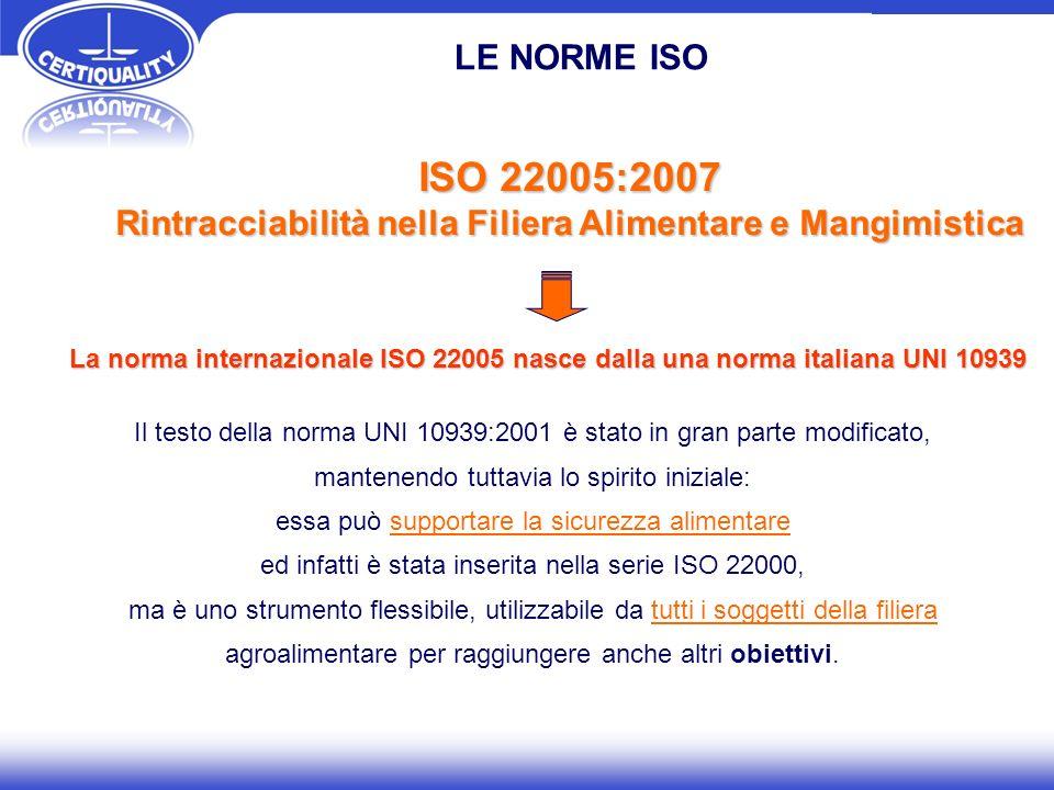 ISO 22005:2007 Rintracciabilità nella Filiera Alimentare e Mangimistica La norma internazionale ISO 22005 nasce dalla una norma italiana UNI 10939 Il