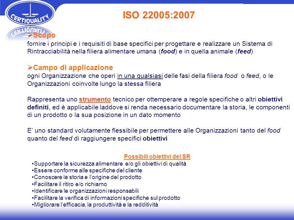 ISO 22000 Sistemi di gestione Sistemi di gestione per la sicurezza alimentare (pubblicata nel Settembre 2005) SCOPO: si applica quando una organizzazione delle filiera alimentare ha bisogno di dimostrare la propria capacità di controllare i pericoli per la sicurezza alimentare al fine di garantire un alimento sicuro al momento del consumo umano.