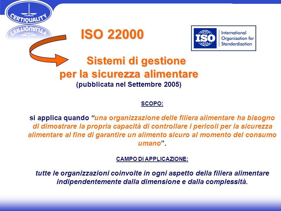 ISO 22000 Sistemi di gestione Sistemi di gestione per la sicurezza alimentare (pubblicata nel Settembre 2005) SCOPO: si applica quando una organizzazi