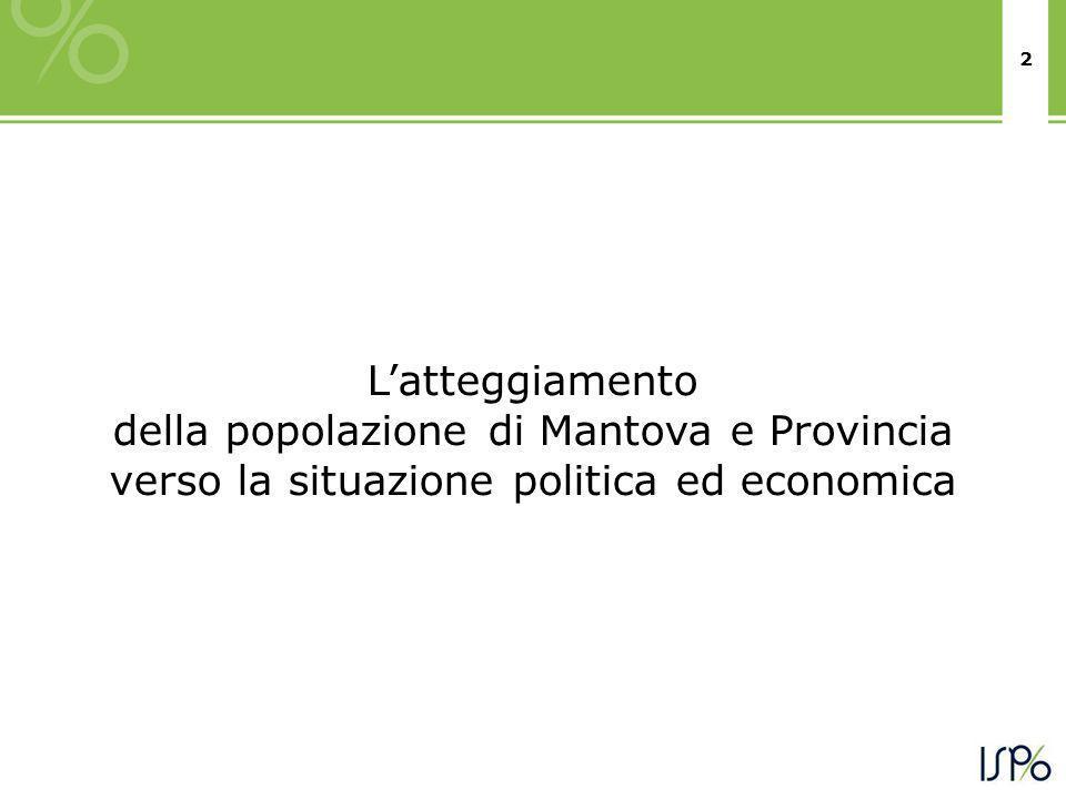 2 Latteggiamento della popolazione di Mantova e Provincia verso la situazione politica ed economica
