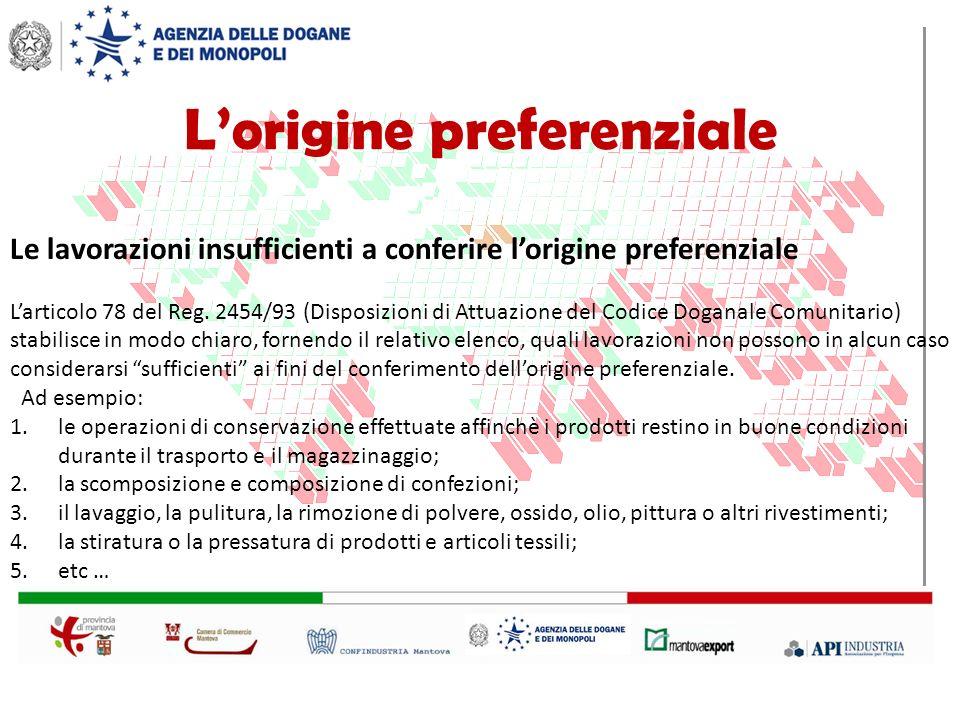 Le lavorazioni insufficienti a conferire lorigine preferenziale Larticolo 78 del Reg.