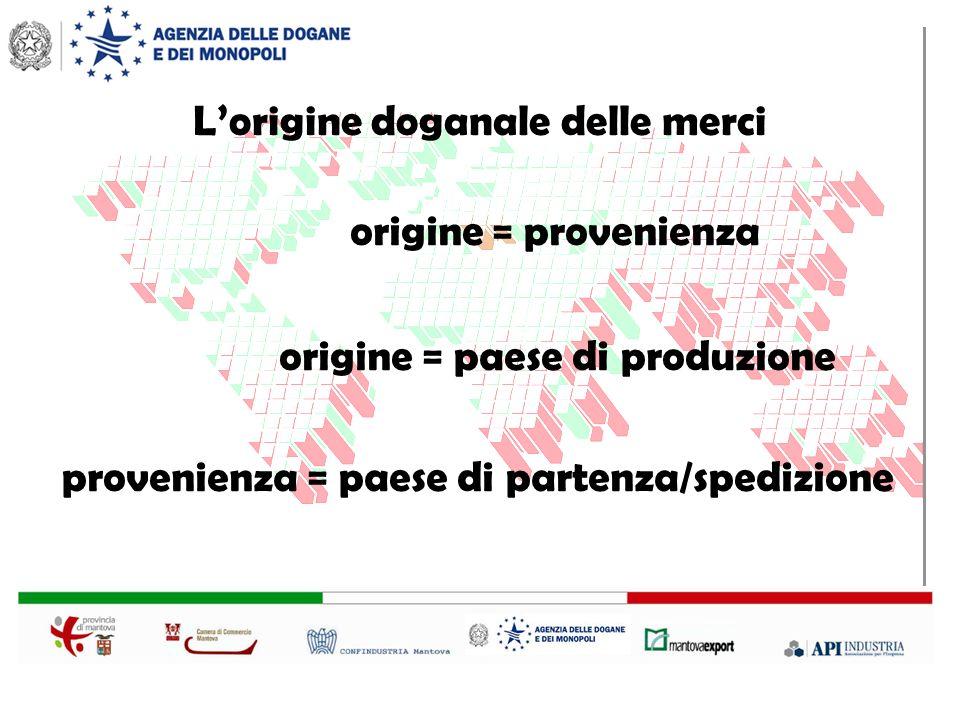 Lorigine doganale delle merci origine = provenienza origine = paese di produzione provenienza = paese di partenza/spedizione