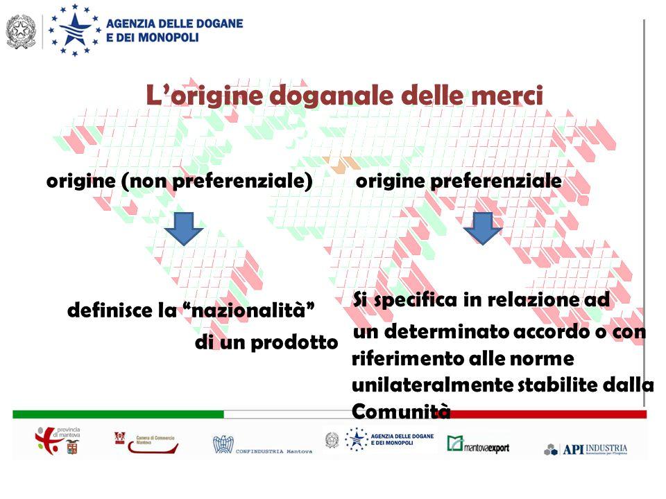 Lorigine doganale delle merci origine (non preferenziale) origine preferenziale definisce la nazionalità di un prodotto Si specifica in relazione ad un determinato accordo o con riferimento alle norme unilateralmente stabilite dalla Comunità