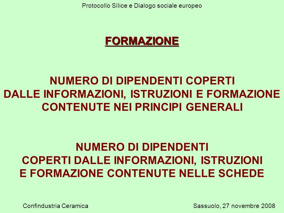 Protocollo Sìlice e Dialogo sociale europeo Confindustria CeramicaSassuolo, 27 novembre 2008 FORMAZIONE NUMERO DI DIPENDENTI COPERTI DALLE INFORMAZIONI, ISTRUZIONI E FORMAZIONE CONTENUTE NEI PRINCIPI GENERALI NUMERO DI DIPENDENTI COPERTI DALLE INFORMAZIONI, ISTRUZIONI E FORMAZIONE CONTENUTE NELLE SCHEDE