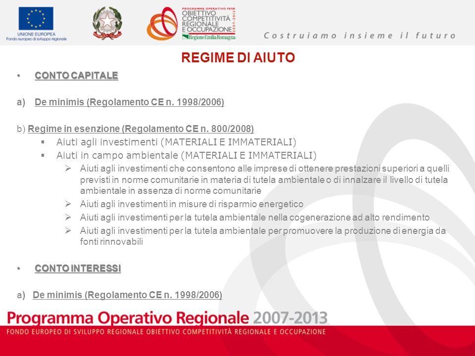 REGIME DI AIUTO CONTO CAPITALECONTO CAPITALE a)De minimis (Regolamento CE n. 1998/2006) b) Regime in esenzione (Regolamento CE n. 800/2008) Aiuti agli