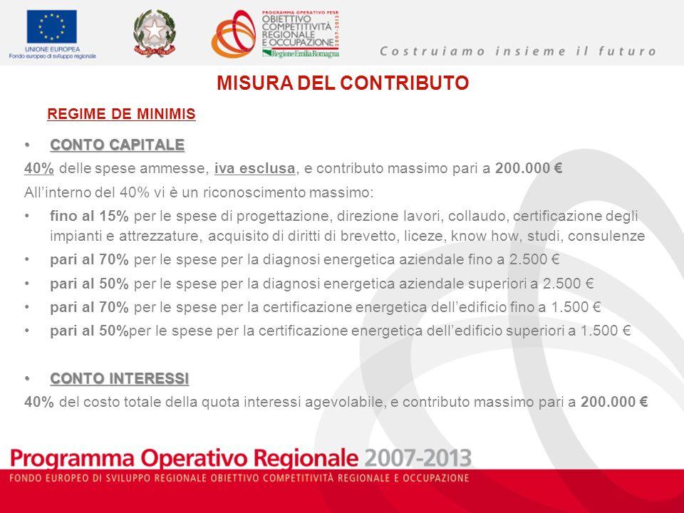 MISURA DEL CONTRIBUTO CONTO CAPITALECONTO CAPITALE 40% delle spese ammesse, iva esclusa, e contributo massimo pari a 200.000 Allinterno del 40% vi è u