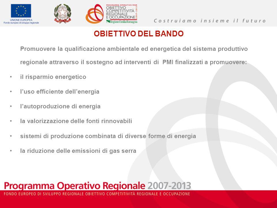 OBIETTIVO DEL BANDO Promuovere la qualificazione ambientale ed energetica del sistema produttivo regionale attraverso il sostegno ad interventi di PMI